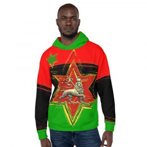 Rasta Pan African Lion Unisex Hoodie at Rastagearshop.com. Lion of Judah and Star of David on the front of Pullover Hoodie.