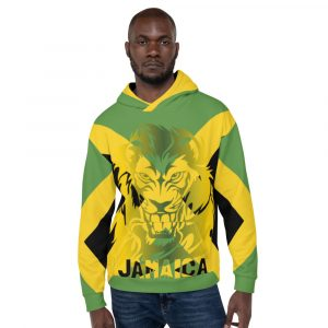 Jamaican Lion of Judah Unisex Hoodie at Rastagearshop. Orignal Jamaican Reggae and Rastafarian merchandise.
