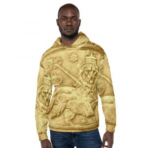 Rasta Lion Ancient Amharic Unisex Hoodie at Rasta Gear Shop. Lion of Judah clothing merchandise and gear