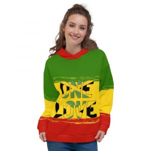 One Love Unisex Hoodie at Rasta Gear Shop. Rasta clothing and Jamaican Haile Selassie Lion of Judah and Reggae Designs on gear.