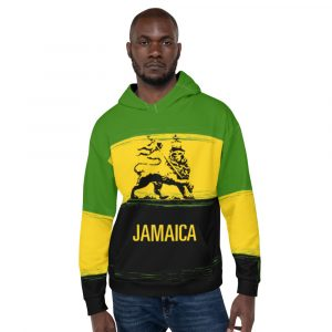 Jamaica Lion Hoodie at Rasta Gear Shop. Quality Jamaican pullover hoodie all over print.