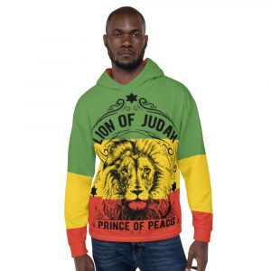 Prince of Peace Rasta Unisex Hoodie. Black Red Gold and Green pullover hoodie. Lion of Judah symbology on quality garment.