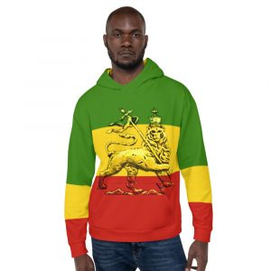 Conquering Lion of Judah Rasta Unisex Hoodie. Rasta Gear Shop Rastafarian, Jamaican, Reggae Merchandise and Clothing.