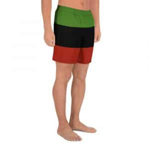 Afro American long shorts in the Marcus Garvey colors. Rastagearshop Jamaican Reggae and Afro American clothing and sportswear.