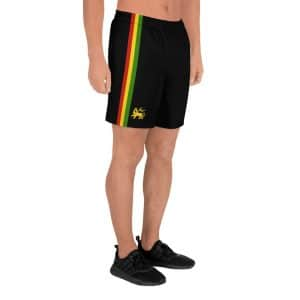 Rasta Stripes Board Shorts in black with red gold and green stripe. Rasta gear shop Jamaican Reggae and Rasta surf gear and activewear.