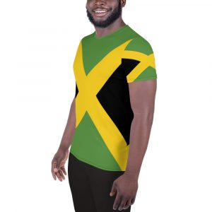 Jamaican Flag Men's Athletic T-shirt at Rasta gear shop. Jamaica colors and style at Rasta gear shop clothing and activewear.