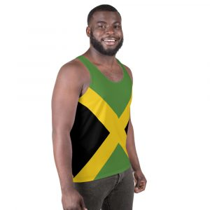 Jamaican Flag Unisex Tank Top in the Jamaica colors. Rasta gear shop clothing sportwear, activewear and clothing.