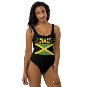 Jamaican Pride One-Piece Swimsuit in black withJamaican flag. Rasta gear shop Jamaican swimwear, dresses and clothing.