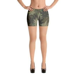 Hemp Camo Dancehall Shorts in hemp leaf camouflage all over print pattern. Great for a workout in the dancehall, at the beach or on the track.