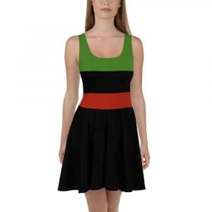 Afro American Skater Dress with Marcus Garvey colors in the bodice and black flared skirt. Flattering all over print design at Rastagearshop.