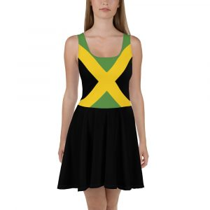 Jamaican Flag Skater Dress with Jamaica colors in the bodice and black flared skirt. Rastagearshop vivid all over print designs on clothing.