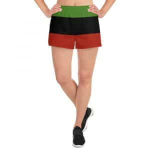 Afro American Women's Athletic Shorts in the Marcus Garvey colors. Great for a workout, the beach or a run. Rastagearshop activewear.