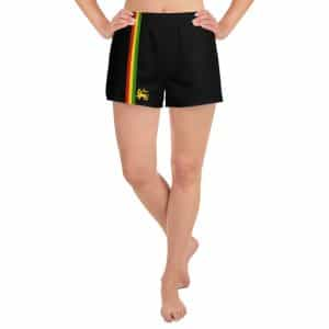 Rasta Stripes Women's Athletic Shorts in black with red gold and green stripe. Great for the beach, a run, or down the gym.
