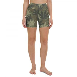Hemp Camo Yoga Shorts in hemp leaf camouflage all over print. Rastagearshop sportwear and activewear. Great for the beach or dancehall.