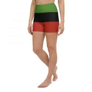 Afro American Yoga Shorts in Marcus Garvey colors. Great for a workout at the gym, the beach or on the track. Rastagearshop activewear.