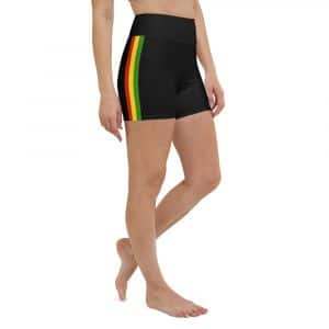 Rasta Stripe Yoga Shorts in the black with red gold and green stripe. Great for a yoga workout, the beach or the gym. Rastagearshop Rastawear.