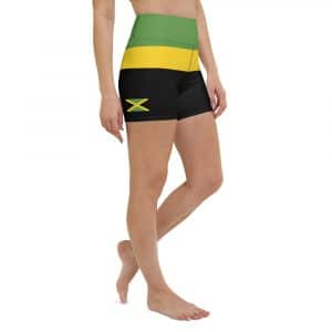 Jamaican Running Shorts in the Jamaica colors with flag. Rasta gear shop sportswear and activewear for the gym or athletics.