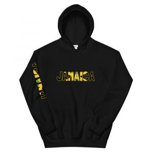 Jamaican cotton/polyester heavyweight hoodie. Jamaica on front and sleeve and Jamaican flag on the back. Rastagearshop Jamaican clothing.