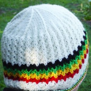 Rasta Cream Wool Beanie handknitted in pure Australian merino wool. Keep your head cosy with this beautful quality product from Rastagearshop